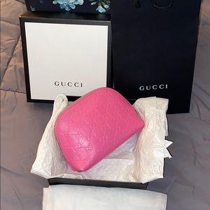 Pink Gucci guccisima cosmetic bag 💝RARE color💝